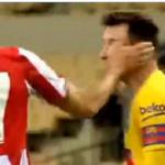 مدافع بيلباو يصفع ميسي في نهائي كأس إسبانيا